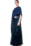 Midnight Blue Draped Gown Side