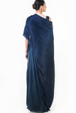 Midnight Blue Draped Gown Back