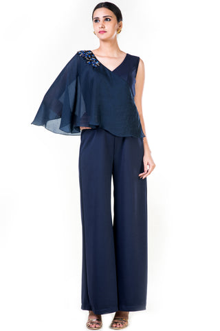 Blue Embroidered Cape Palazzo Jumpsuit Front