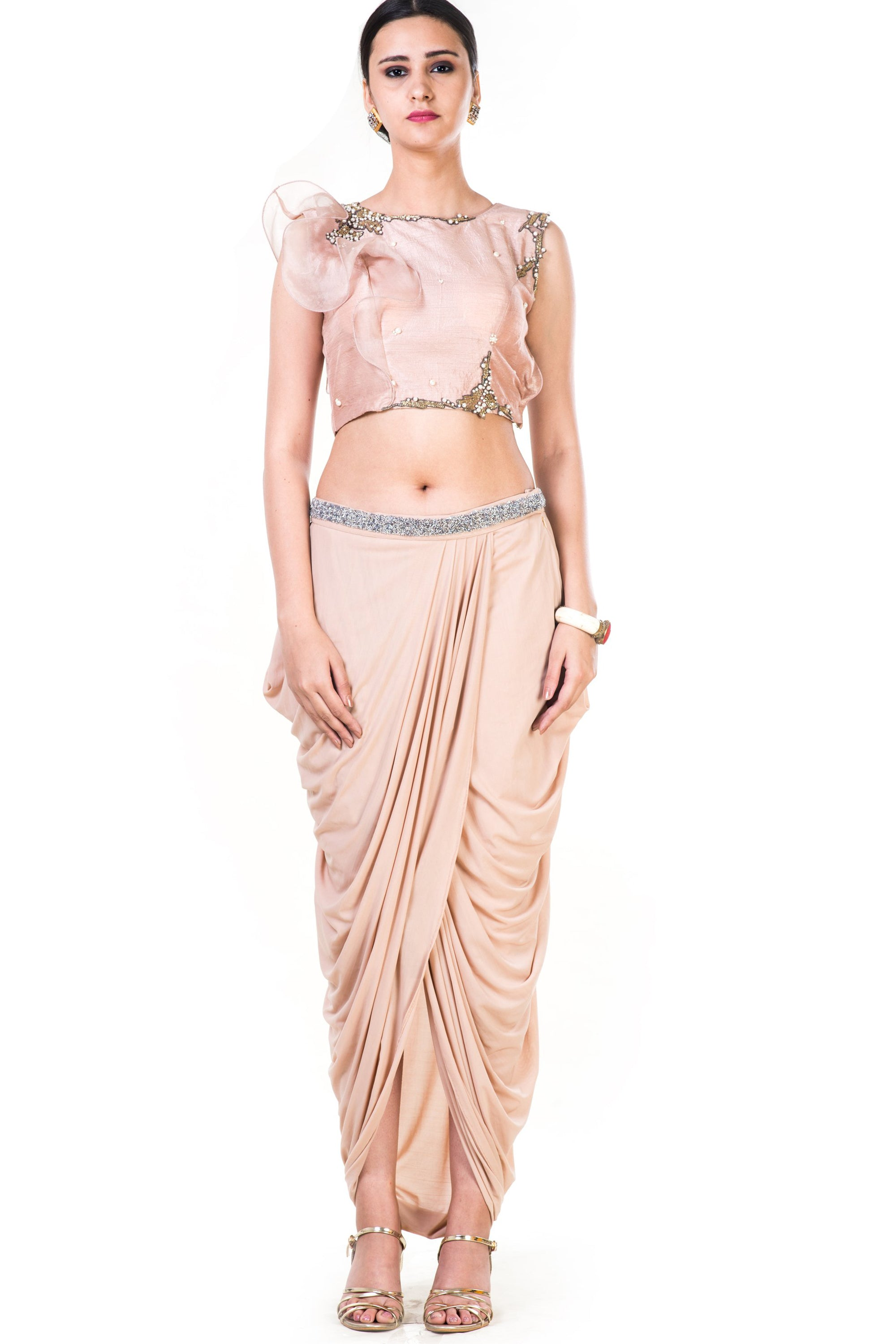 Embroidered Light Brown Frill Crop Top & Draped Skirt Set Front