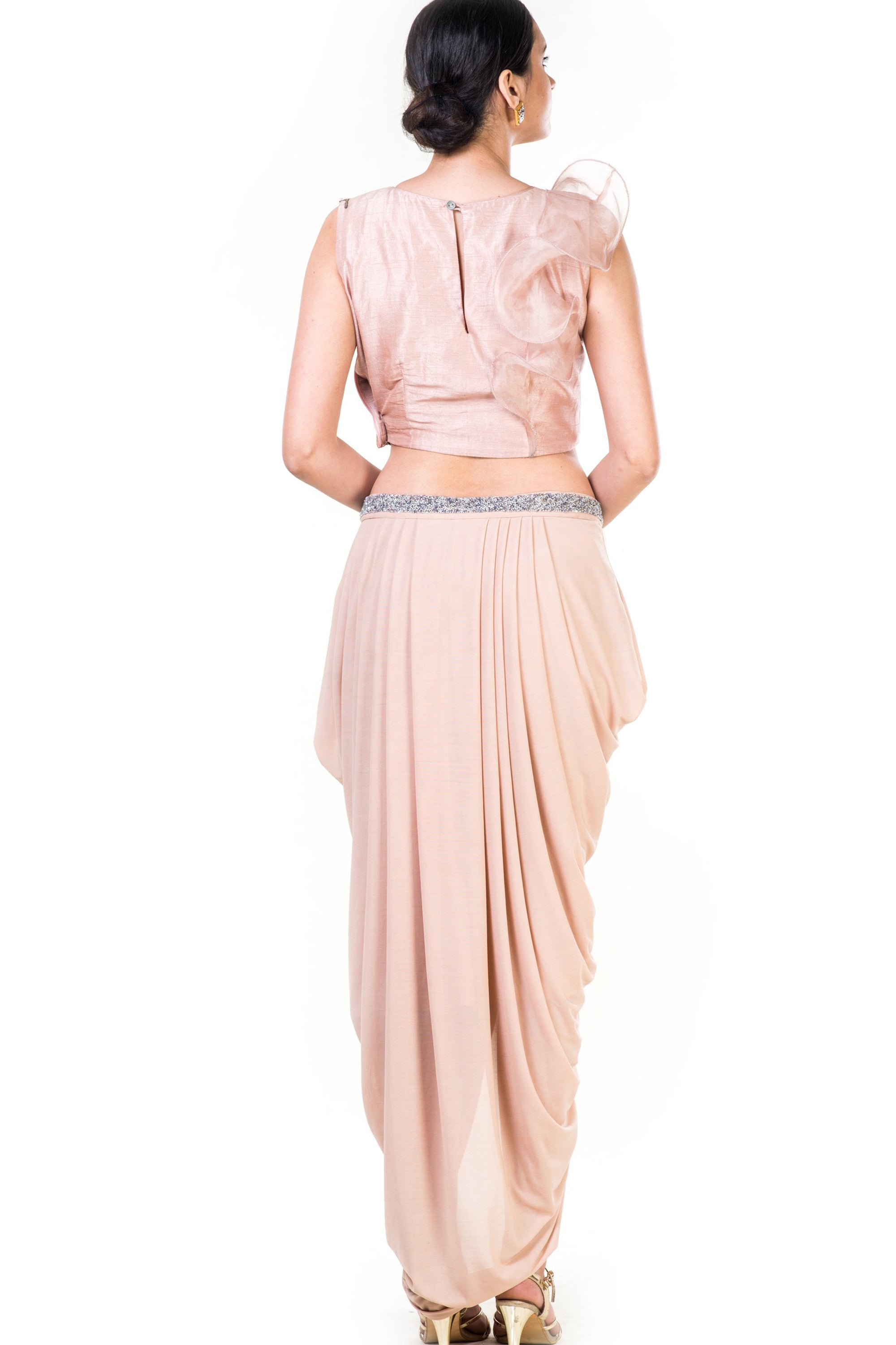 Embroidered Light Brown Frill Crop Top & Draped Skirt Set Back