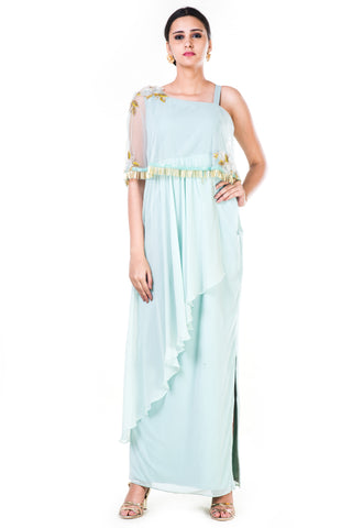 Blush Green Single Shoulder Cape Fringe Work Gown Front