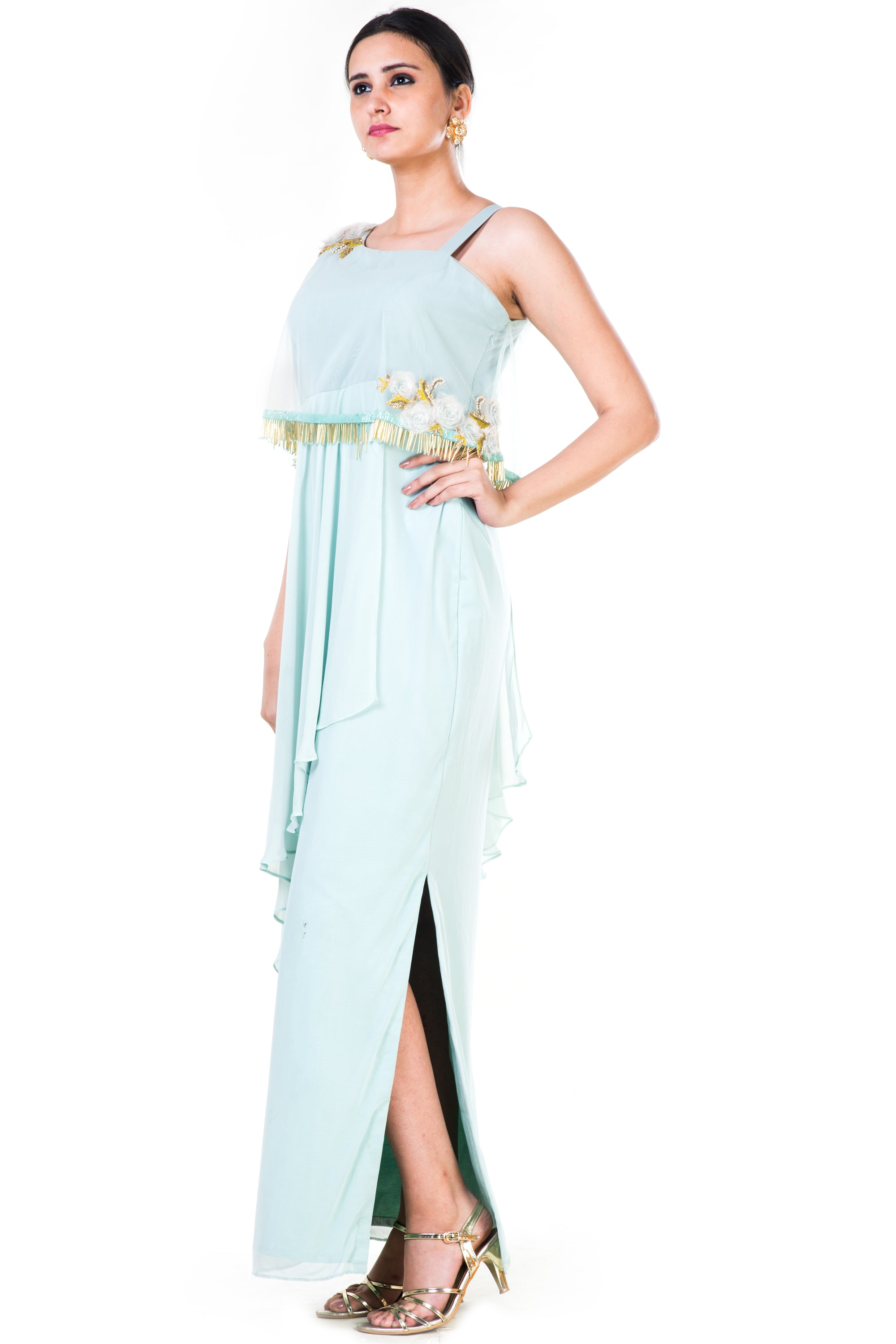 Blush Green Single Shoulder Cape Fringe Work Gown Side