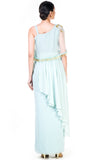 Blush Green Single Shoulder Cape Fringe Work Gown Back