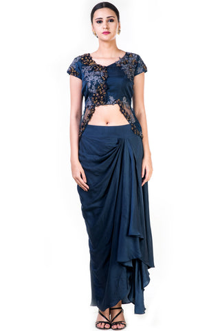 Embroidered Navy Blue Jacket Style Top With A Draped Skirt Front