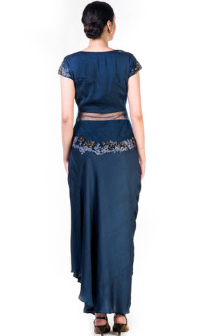 Embroidered Navy Blue Jacket Style Top With A Draped Skirt