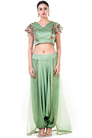 Green Floral  Embroidered Crop Top & Dhoti Set With Trail Front