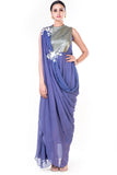 Embroidered Lavender Draped Gown With Sequin Yoke Front