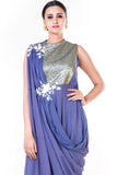 Embroidered Lavender Draped Gown With Sequin Yoke CloseUp
