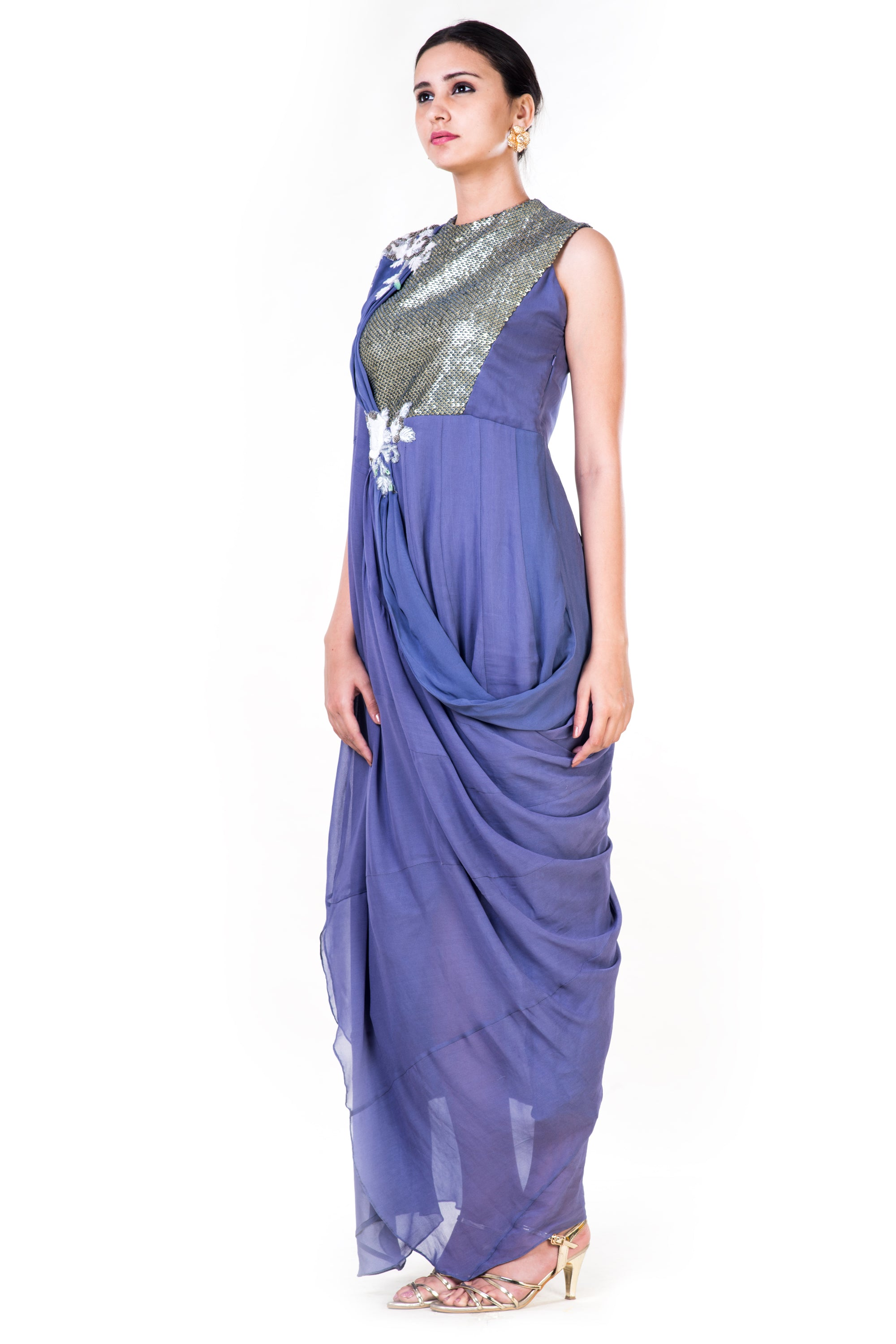 Embroidered Lavender Draped Gown With Sequin Yoke Side