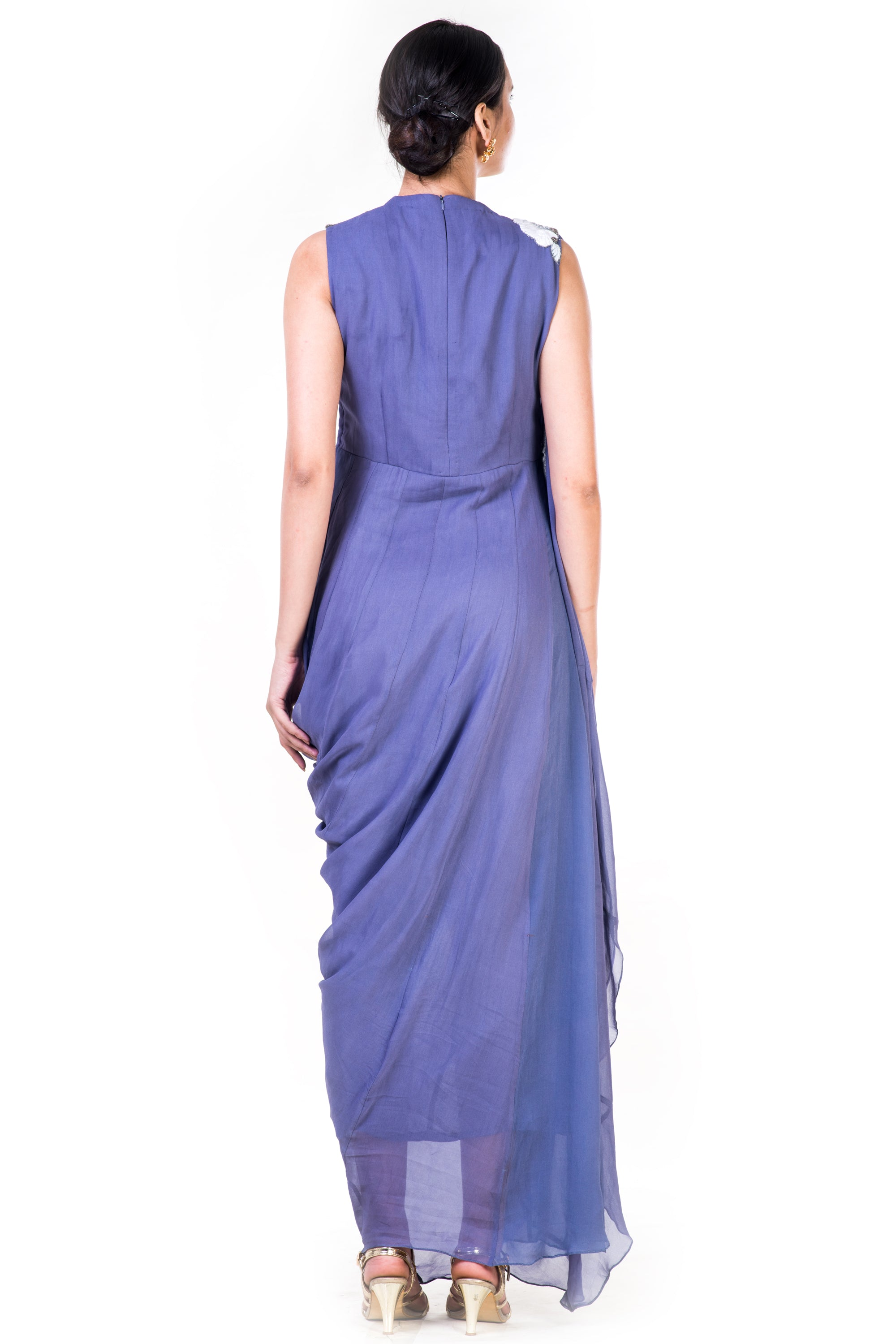 Embroidered Lavender Draped Gown With Sequin Yoke Back