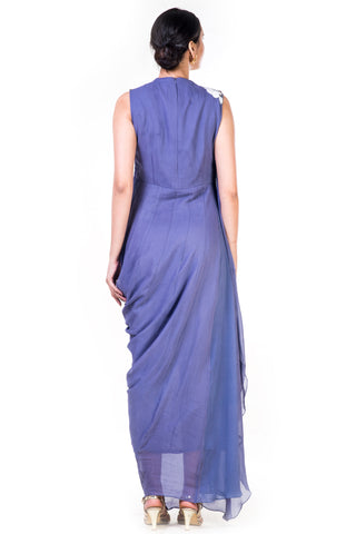 Embroidered Lavender Draped Gown With Sequin Yoke