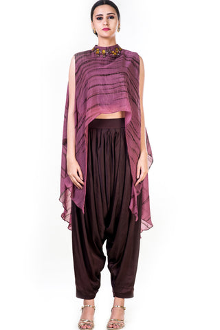 Marble Dyed High Low Cape Style Crop Top & Coffee Brown Harrem Pant Front