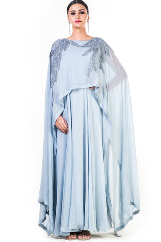 Hand Embroidered Ice Grey Long Cape Style Gown Front