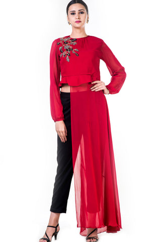 Embroidered Red Asymmetrical Long Top With Straight Fit Pants Front