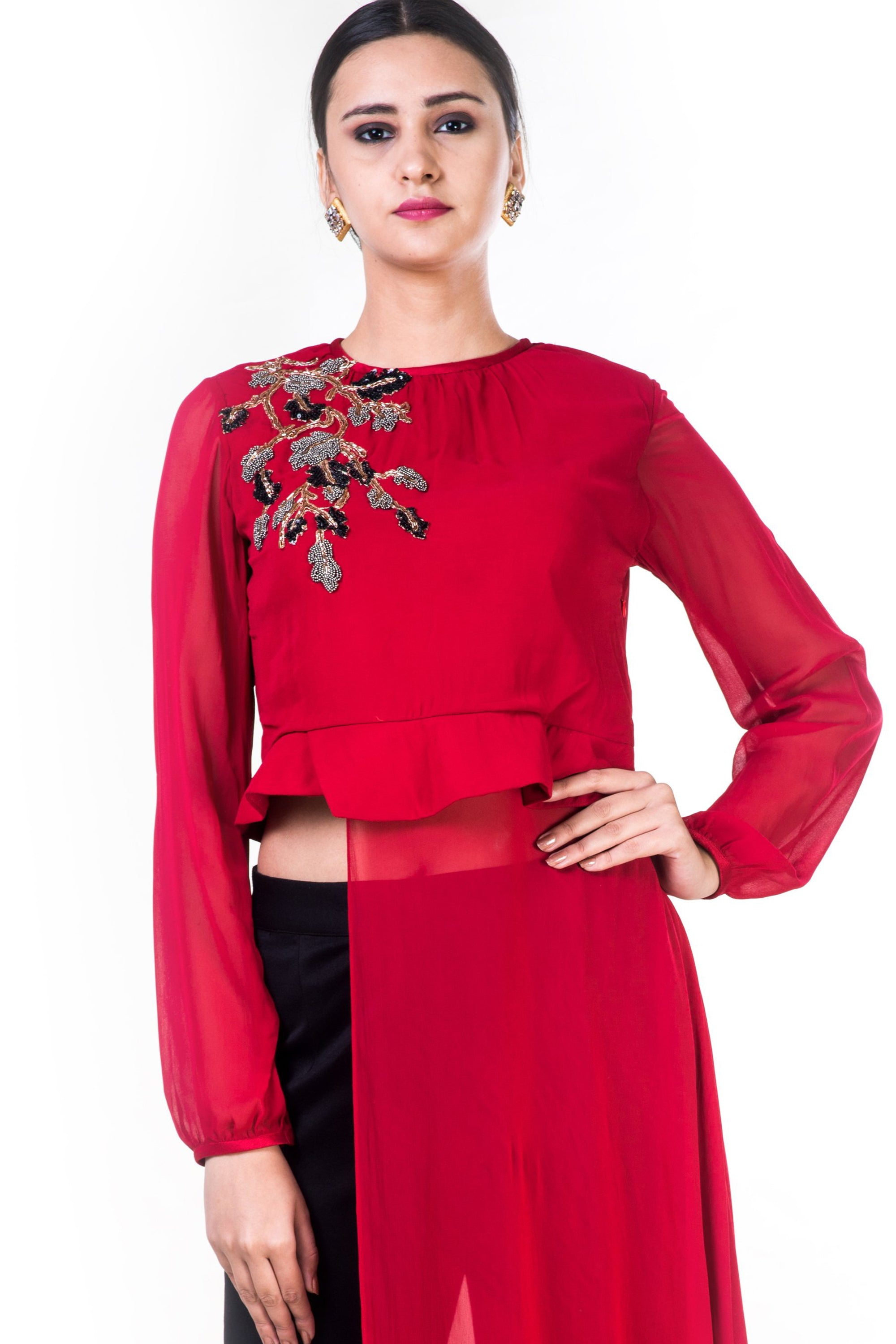 Embroidered Red Asymmetrical Long Top With Straight Fit Pants CloseUp