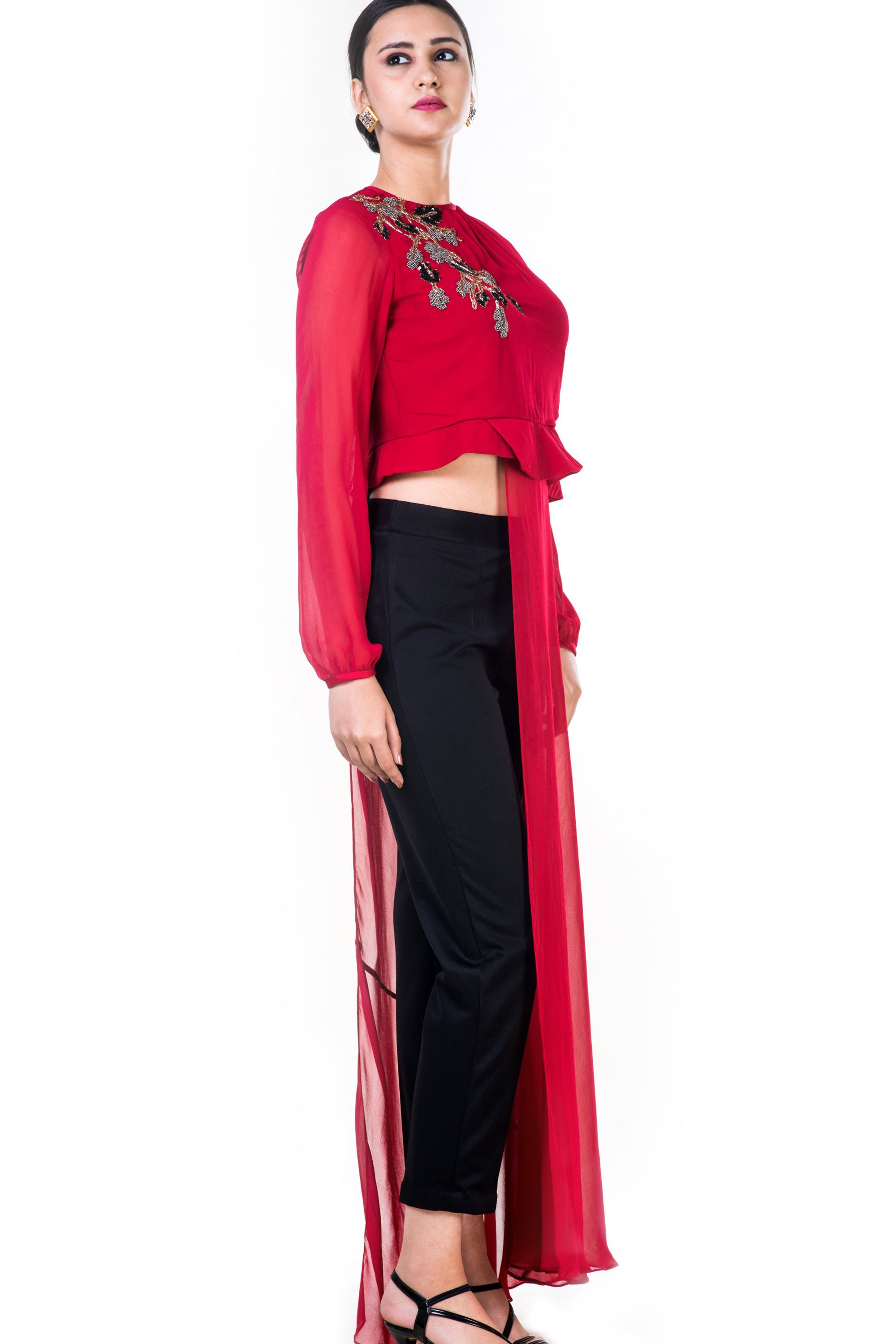 Embroidered Red Asymmetrical Long Top With Straight Fit Pants Side