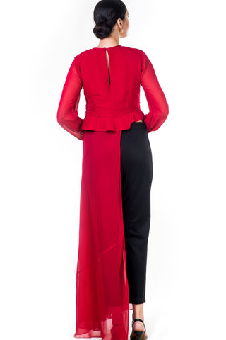 Embroidered Red Asymmetrical Long Top With Straight Fit Pants