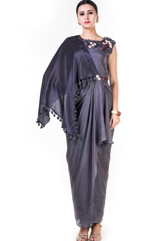 Embroidered Charcoal Grey Asymmetrical Cape Draped Gown Front