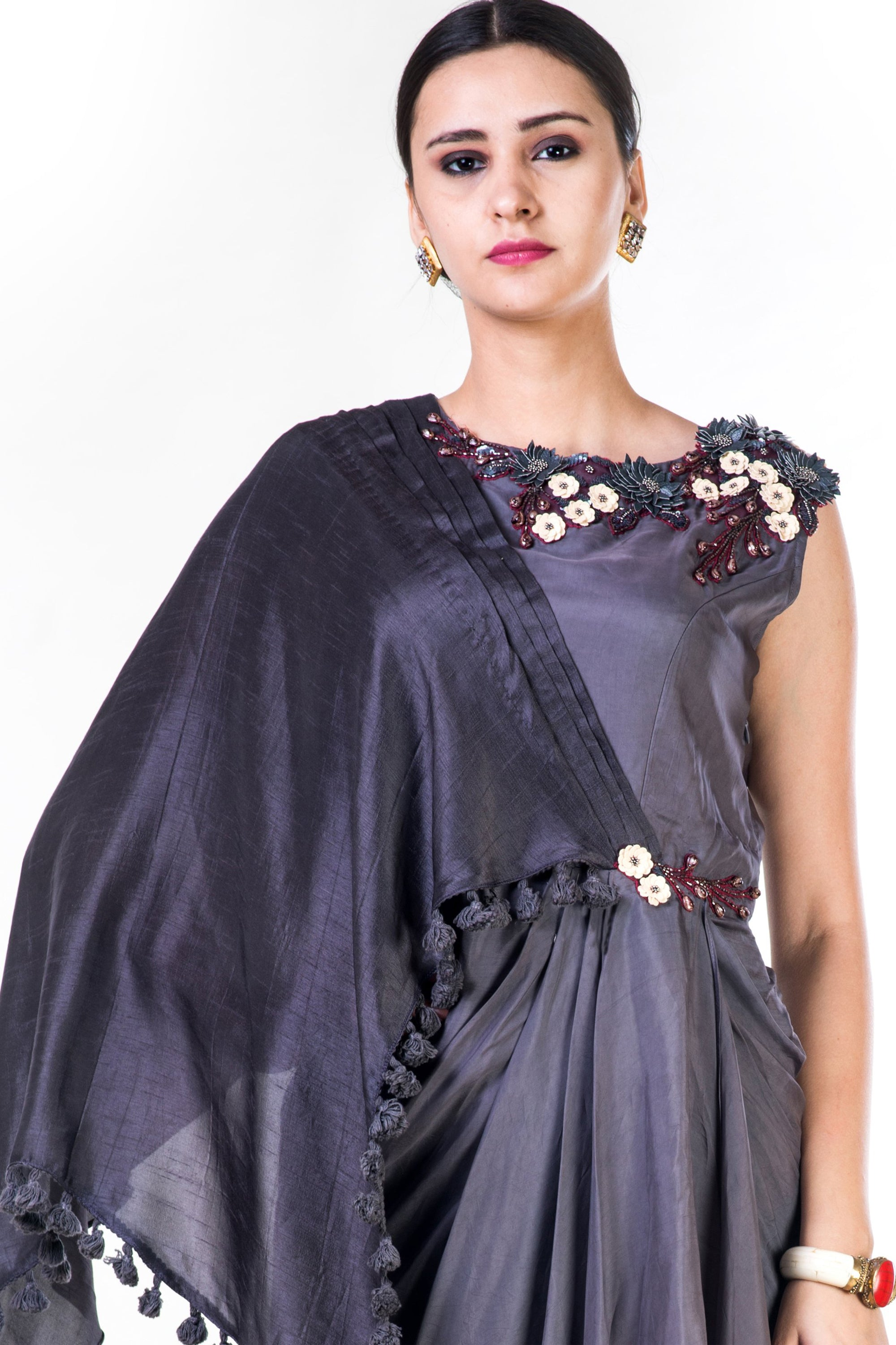 Embroidered Charcoal Grey Asymmetrical Cape Draped Gown CloseUp