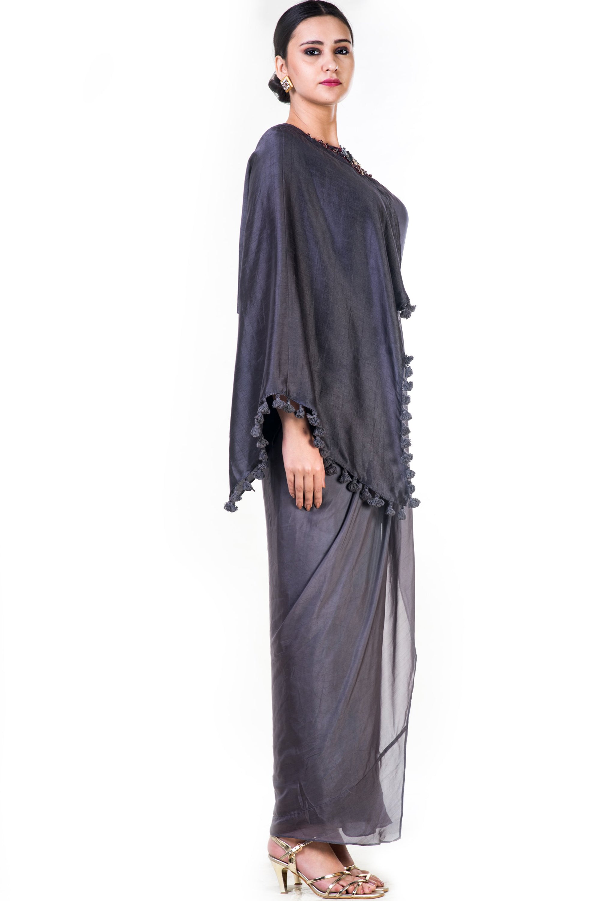 Embroidered Charcoal Grey Asymmetrical Cape Draped Gown Side
