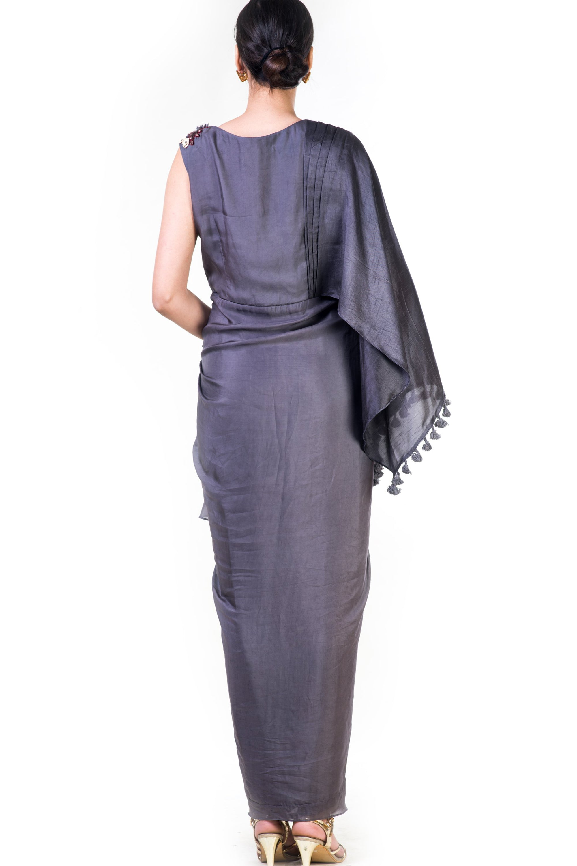 Embroidered Charcoal Grey Asymmetrical Cape Draped Gown Back
