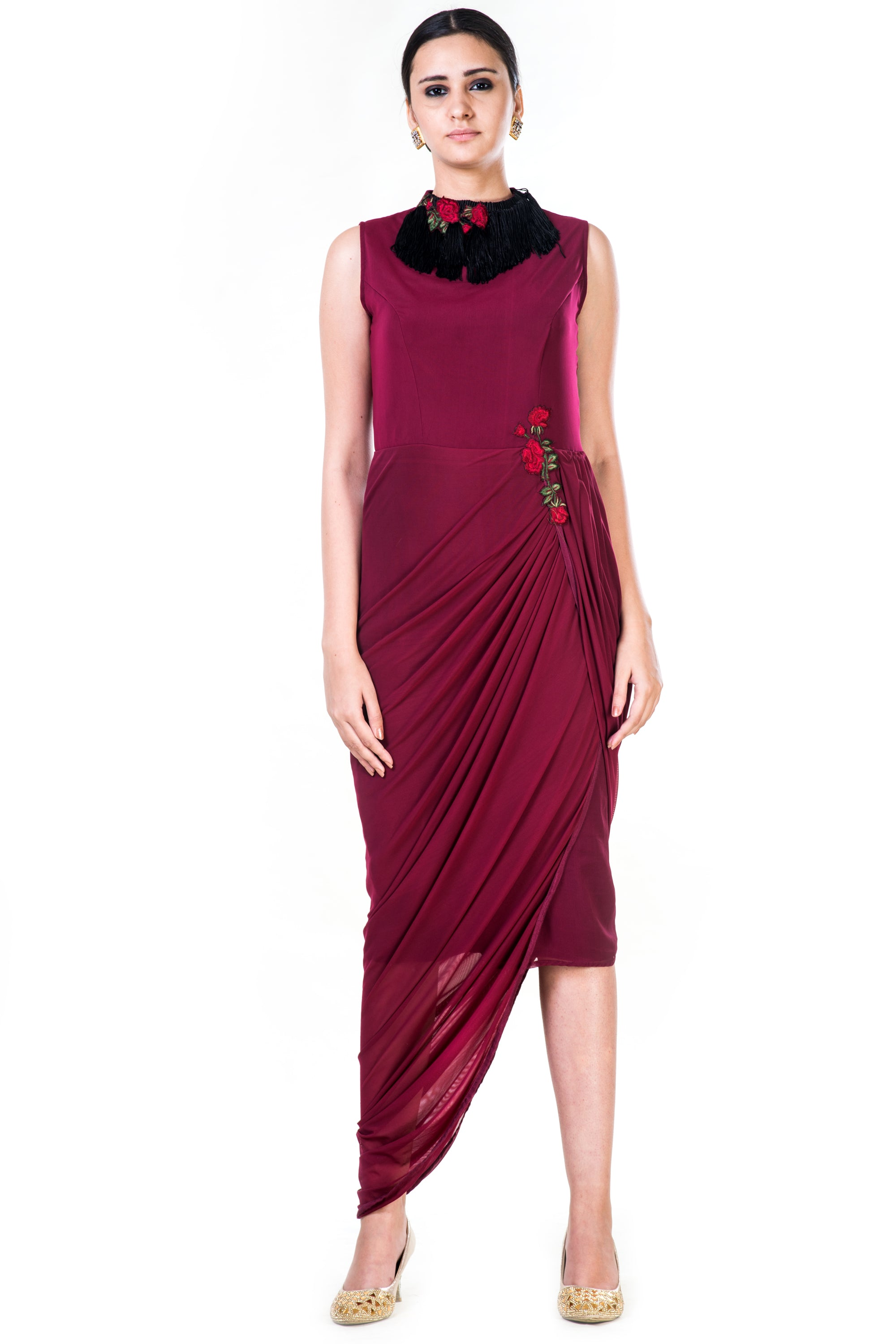 Embroidered Maroon Fringe Neck Drape Gown Front