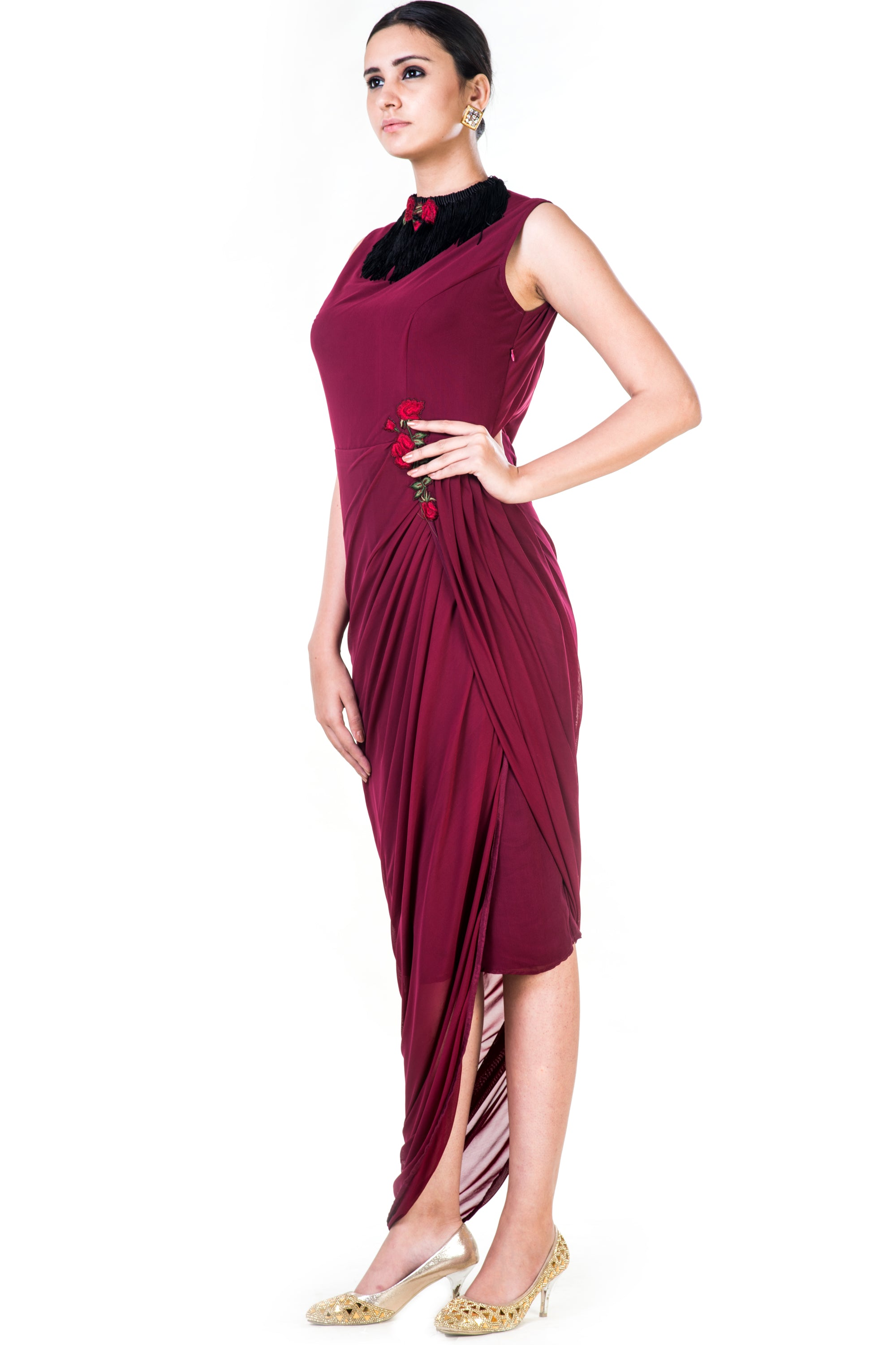 Embroidered Maroon Fringe Neck Drape Gown Side