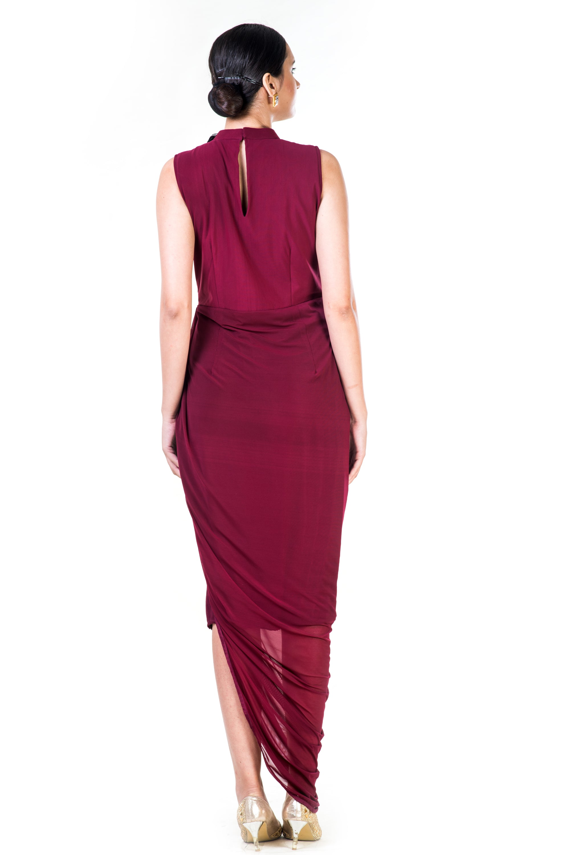 Embroidered Maroon Fringe Neck Drape Gown Back