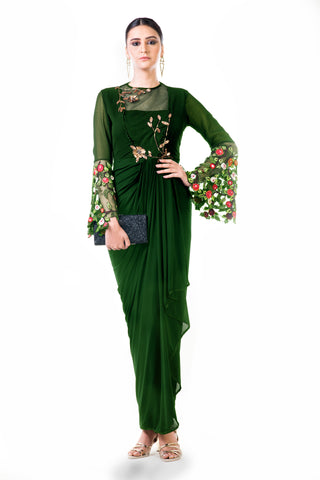 Green Embroidered Bell Sleeves Draped Dress Front