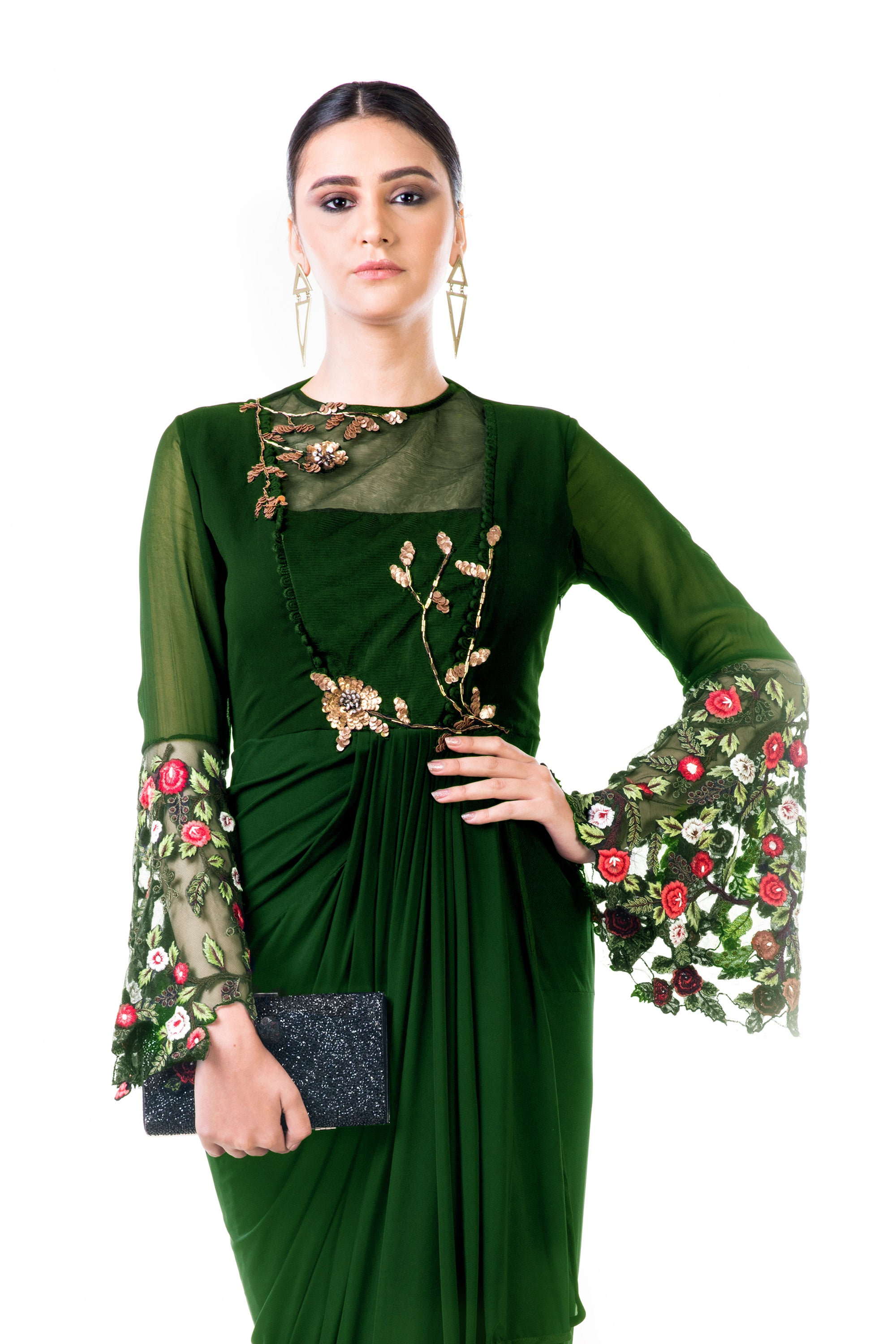 Green Embroidered Bell Sleeves Draped Dress CloseUp