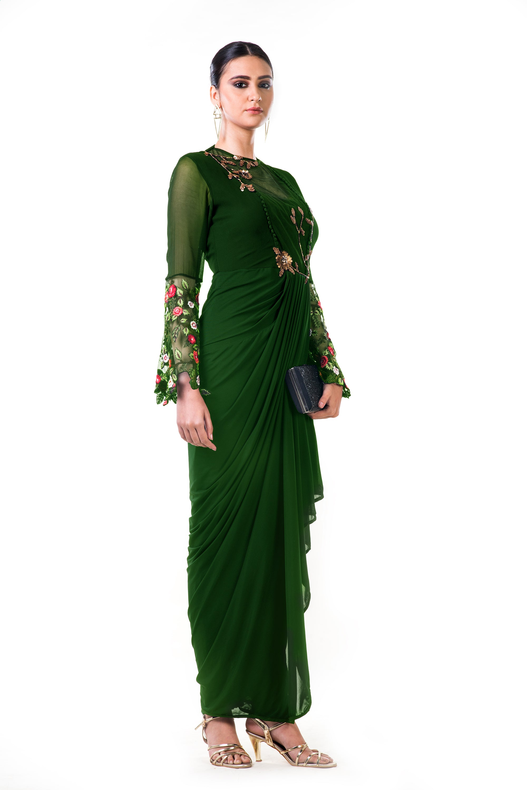 Green Embroidered Bell Sleeves Draped Dress Side