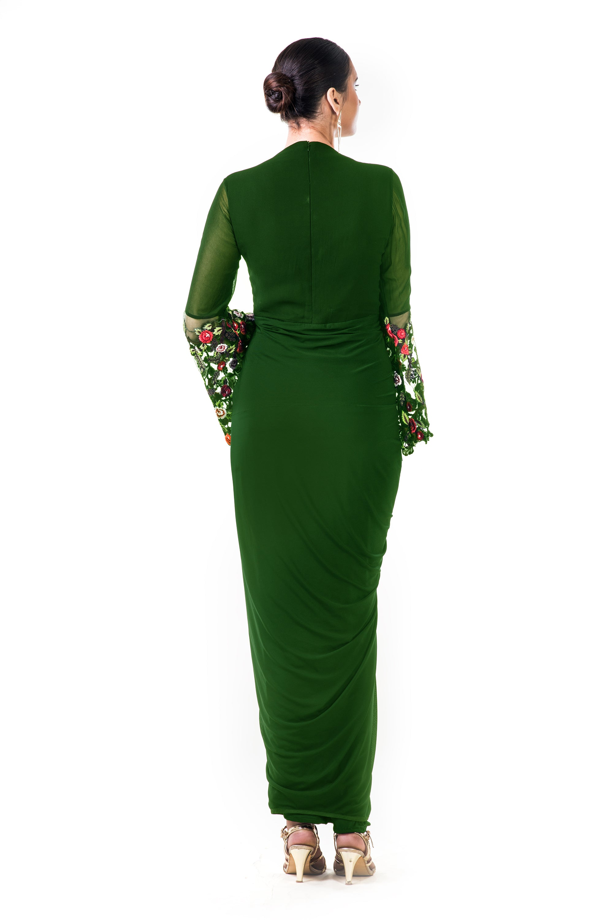 Green Embroidered Bell Sleeves Draped Dress Black