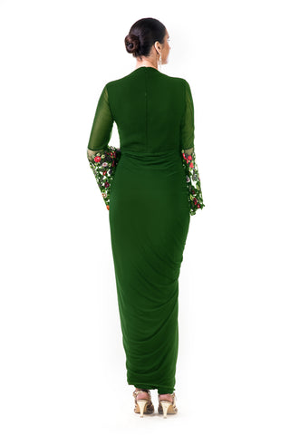 Green Embroidered Bell Sleeves Draped Dress