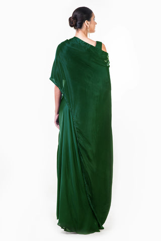 Bottle Green Draped Gown