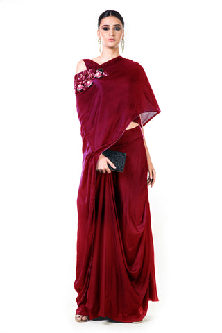 Maroon Draped Gown Front
