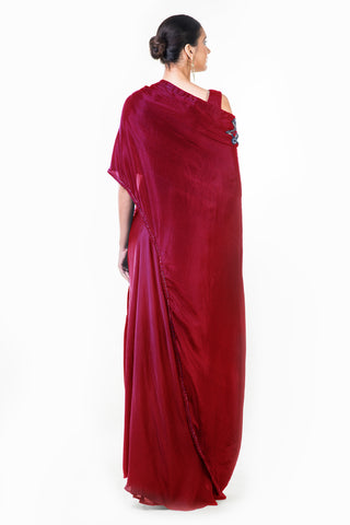 Maroon Draped Gown