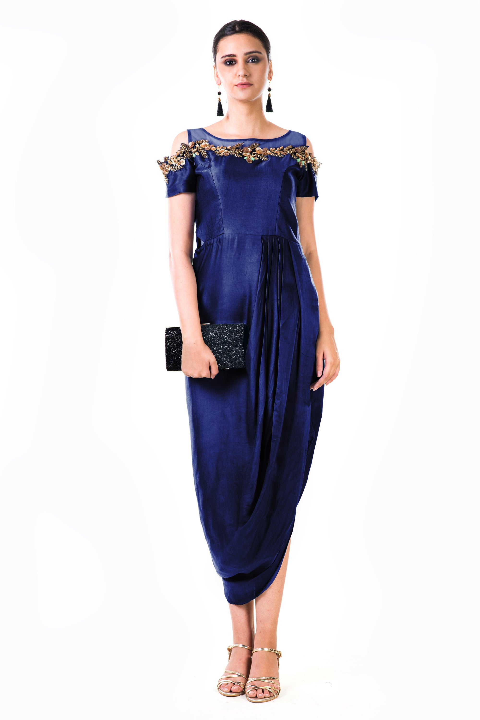 Royal Blue Draped Gown   VIVA-LUXE