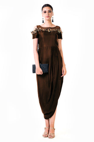 Chocolate Brown Draped Gown Front