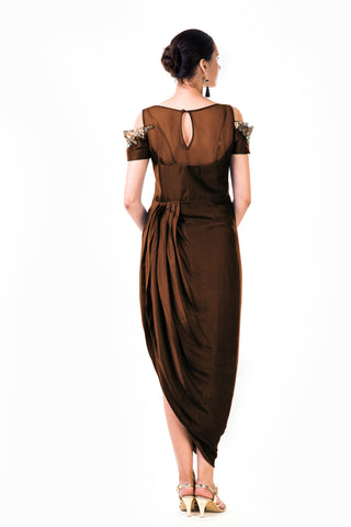 Chocolate Brown Draped Gown