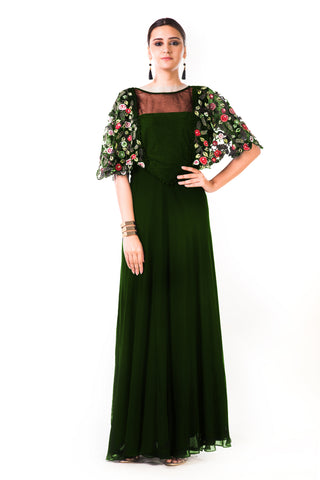 Bottle Green Hand Embroidered Cape Style Gown Front