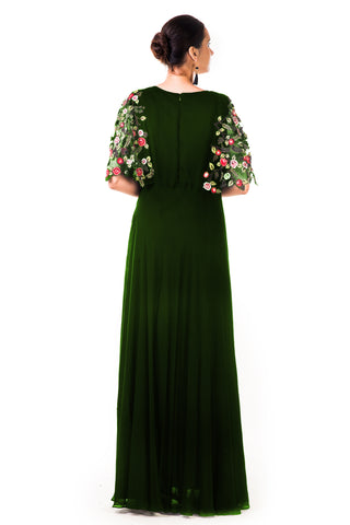 Bottle Green Hand Embroidered Cape Style Gown