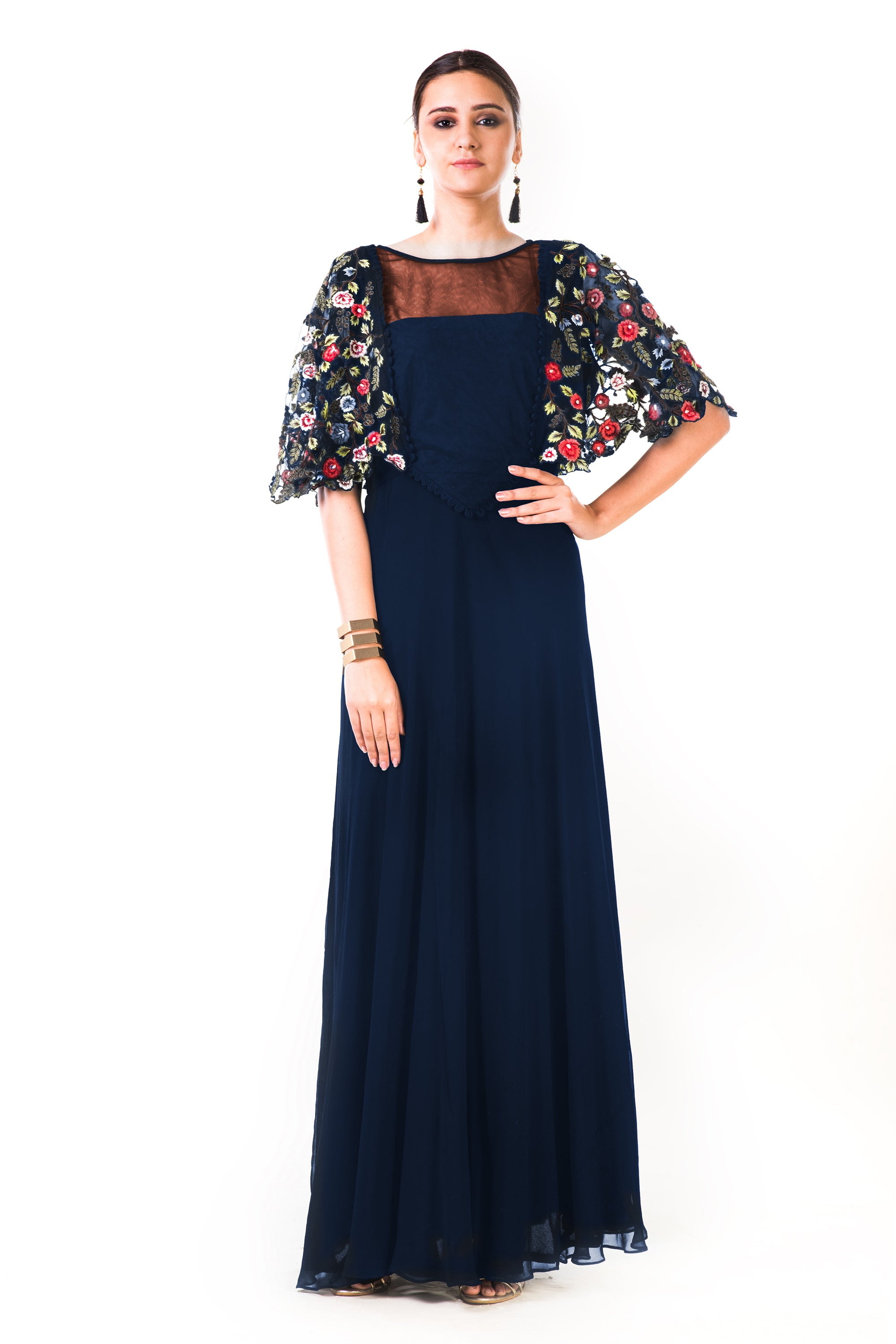 Midnight Blue Hand Embroidered Cape Style Gown | VIVA-LUXE