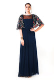 Midnight Blue Hand Embroidered Cape Style Gown Front
