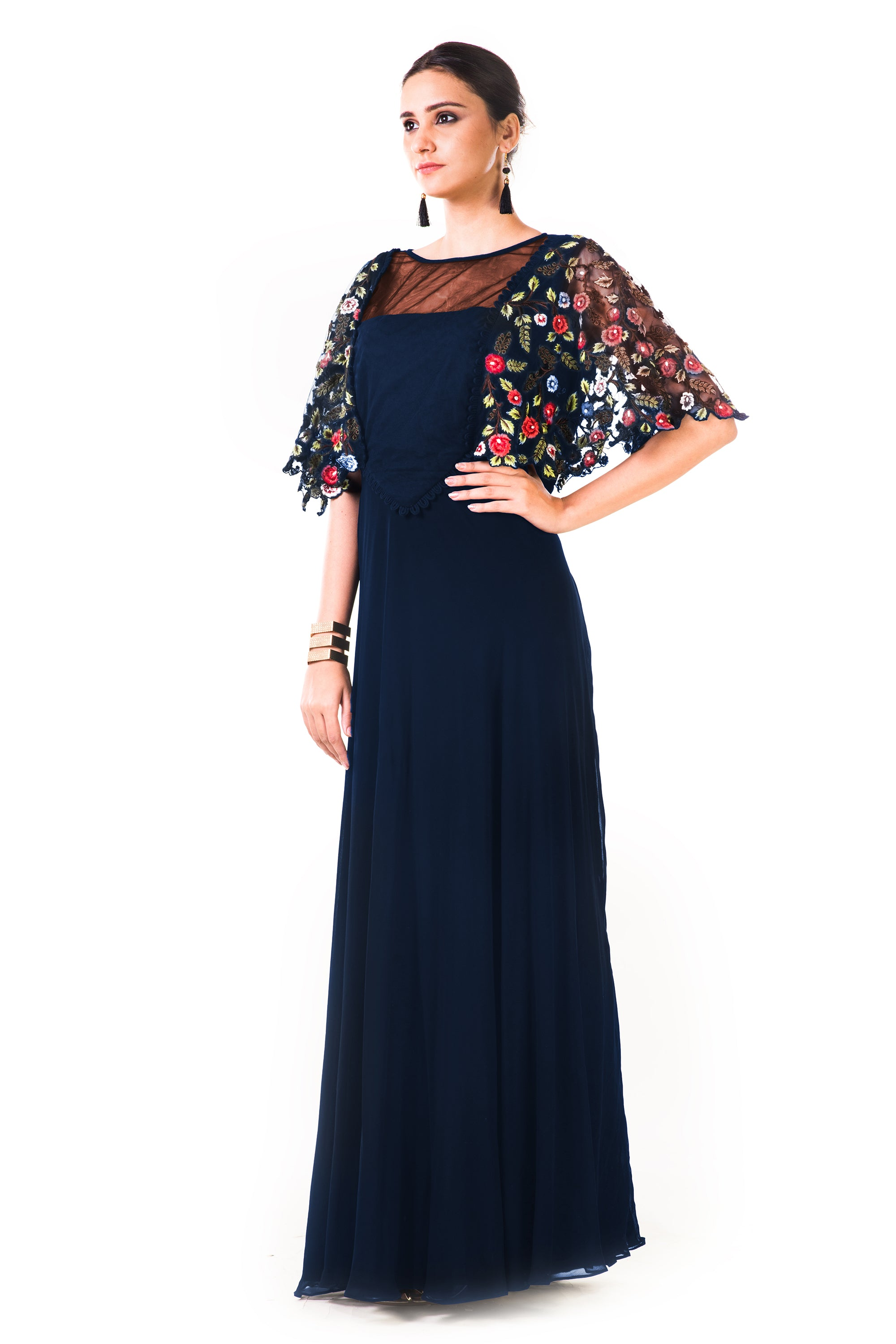 Midnight Blue Hand Embroidered Cape Style Gown Side