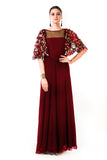 Maroon Hand Embroidered Cape Style Gown Front