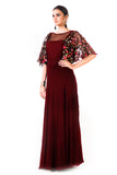 Maroon Hand Embroidered Cape Style Gown Side