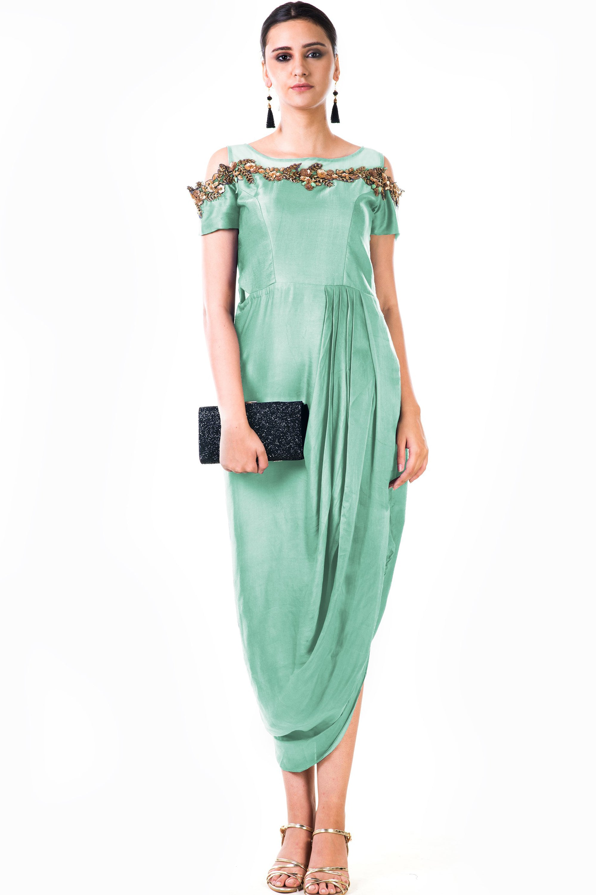 Mint Green Draped Gown   VIVA-LUXE