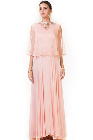 Peach Hand Embroidered Cape Gown with Cold Shoulder Front