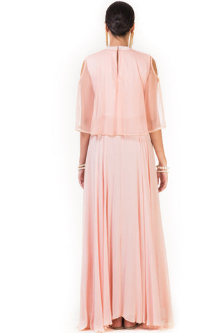 Peach Hand Embroidered Cape Gown with Cold Shoulder
